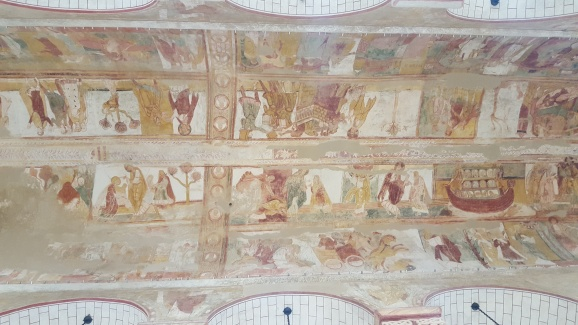 The frescoes in the Abbey in Saint Sauvin.